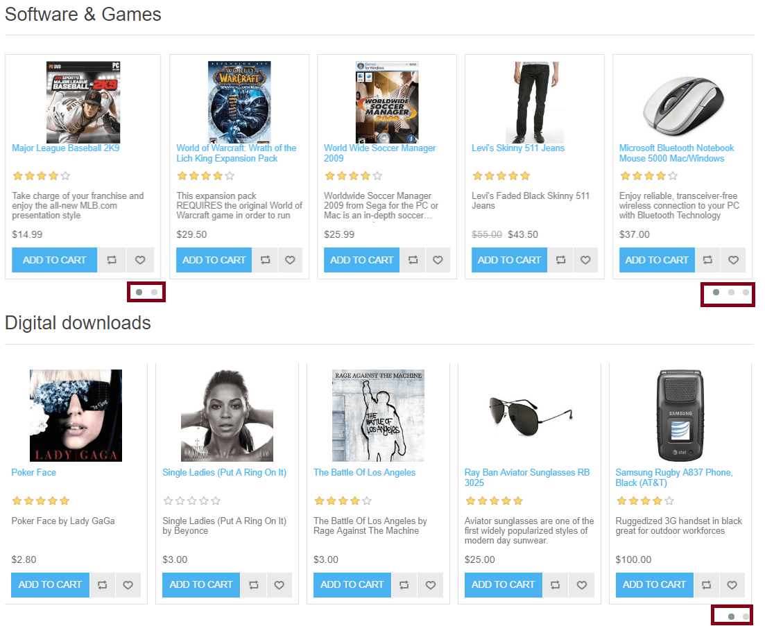 Show categories with products on Home page