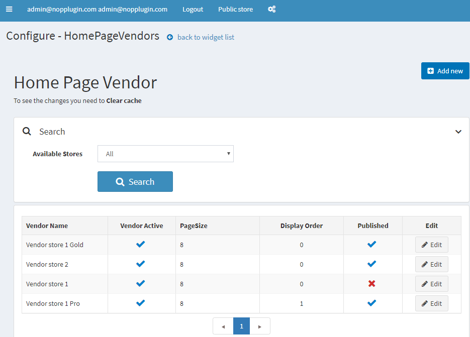 Show vendor with products on Home page