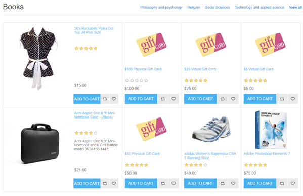 Picture of Show categories with products on Home page